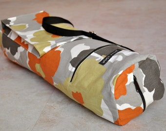 Yoga mat bag, pilates mat bag, beautiful grey, orange, and olive floral, boho chic yoga bag with zipper, pockets, and adjustable strap