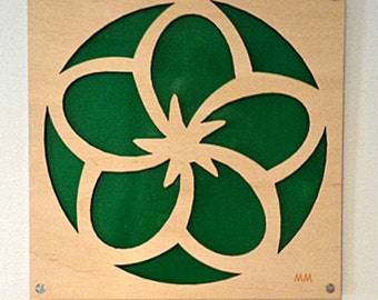 Plywood Flower and Recycled Aluminum in Green