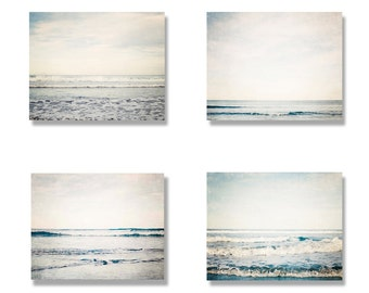 Beach photo canvas set, beach decor, ocean photo, four canvases, beach photography, winter, teal, muted, soothing - The Winter Beach set