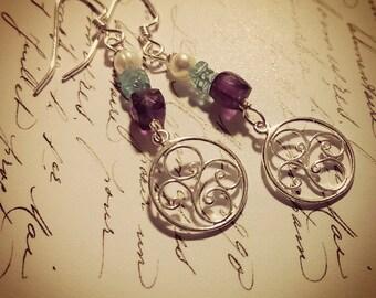 Romantic Whisper .  Pearl . Amethyst . Apatite . Sterling Silver Drop Earrings