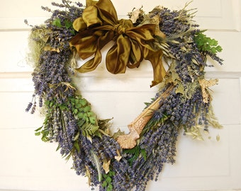 Romantic Woodland Heart Shaped Wreath of Lavender, Moss, Cedar, Lichens and Feathers