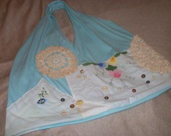 Aqua Blue Vintage Hankies and Doilies Recycled Tshirt Shopping Bag