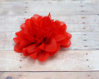 Red Flower Hair Clip - Petal Flower- Flower Hair Clip - Alligator Clip - With or Without Rhinestone Center