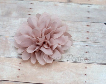 Taupe Flower Hair Clip - Petal Flower- Flower Hair Clip - Alligator Clip - With or Without Rhinestone Center
