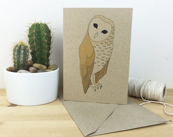 Barn owl card - illustrated bird printed card - recycled / eco friendly - wildlife / nature