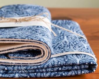 Organic Baby Blanket and Burp Cloth Gift Set in SASHIKO TREES, Indigo and White Tree, Forest Organic Baby Gift Set by Organic Quilt Company