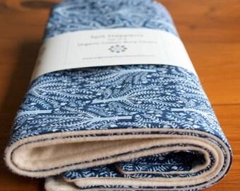 Blue Baby Burping Cloths; Burp Cloths Set; Organic Cotton Burping Pads; Unique Baby Shower Gift for Nursing Mom; Sashiko Trees (Last Set)