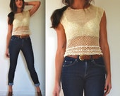 Vintage 60s 70s Ivory Crocheted Beaded Shell Blouse (size xs, small)