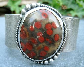 Bold Gemstone Sterling Silver Cuff with Morgan Hill Poppy Jasper and Granulation bold rustic bracelet red poppy flowers gemstone cuff