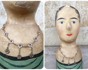 Vintage Antique 1900 Edwardian old French silvered metal & rhinestones necklace /floral/Art nouveau