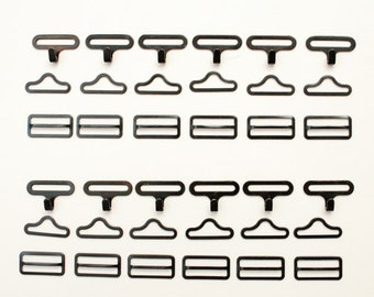 Bow Tie Bowties Hardware Hook Eye Slide Set (3 pieces) 3/4 inch black Set of 12