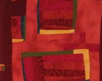 RED fiber art wall hanging MODERN quilting art quit
