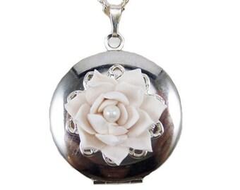 Lotus Flower Locket Necklace -  Lotus Jewelry