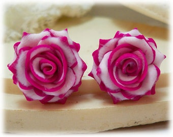 Pink Tip White Rose Earrings Stud or Clip On