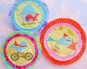 Bright Sewn Fabric Embellishments Set of Three Birds