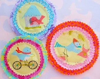 Bright Sewn Fabric Embellishments Set of Three Birds