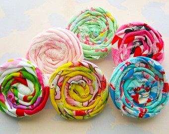 Rolled Fabric Flower Small Rosettes Set of Six