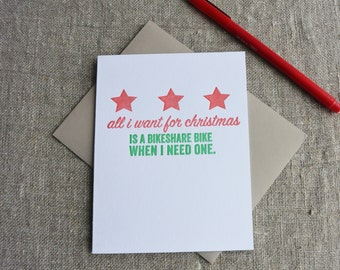 Letterpress Christmas Card - Local Love DC Bikeshare
