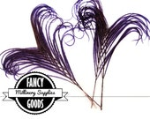 4 - Purple - Curled - Peacock Stems - Feathers - Sprigs -  Millinery - Boutonnieres