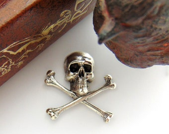 SILVER (2 Pieces) Medium Gothic Skull And Bones Stampings -  Jewelry Antique Silver Findings (C-502) #