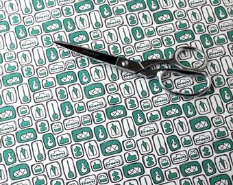 Retro Fabric / Mid Century Modern / Atomic Fabric / Fat Quarters / Retro Kitchen / Hand Drawn / Kitchen Curtains / Teal