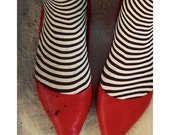 Surreal Photography, Red Shoes, Black and White, Whimsical Photograph, Dorothy Portrait, Stripes, Large Wall Art, Dark, Halloween Decor