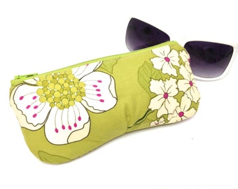 Sunglasses Case, Eyeglass Case, Glasses Sleeve, Fabric Sunglass Holder, Flowers on Lime Green