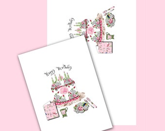 Happy Birthday Party  5 x 7 image and 5 x 7 card or invitation JPEG file instant download
