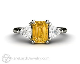 Yellow Sapphire Engagement Ring Vintage Yellow Sapphire Ring White Sapphire Trillions 3 Stone Three Stone 14K or 18K Gold Unique Engagement