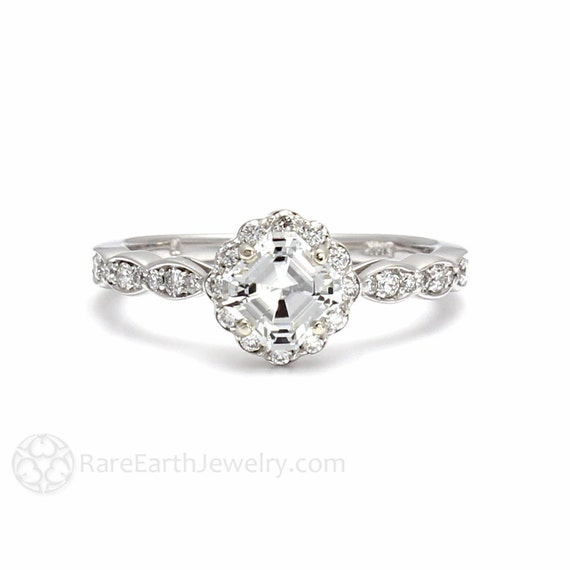 14K Asscher Diamond Engagement Ring Diamond Halo Ring 14K White Yellow Rose Gold Custom Bridal Jewelry