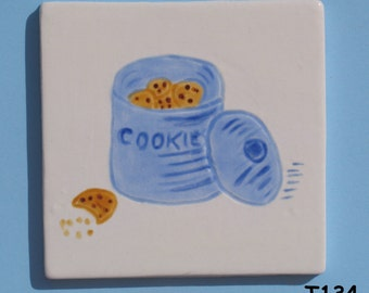 """3"""" x 3"""" TILE of a cookie jar -Handmade Ceramic Tiles for your Project T134"""