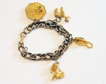 Vintage 60s Charm Bracelet, Poodle Charm Bracelet, Telephone Charm Bracelet, Kitsch and Fun, Gold Tone Chain Bracelet, Unique Charms, Chunky