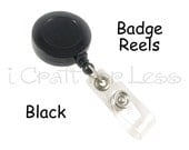 5 Retractable Badge Reels with Belt Clip and Plastic Strap - Black - SEE COUPON