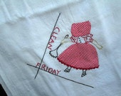 Sunbonnet Sue dish towel Home decor Gift Applique red dot Embroidery dishrag Red 50s vintage Kitchen decor feedsack Clean Friday towel