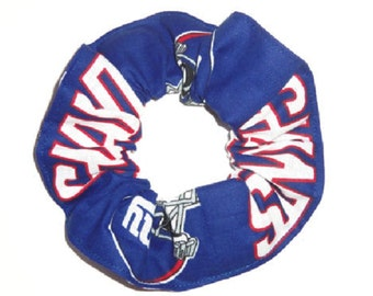 2 New York Giants Fabric Hair Scrunchie NFL Football Scrunchies by Sherry