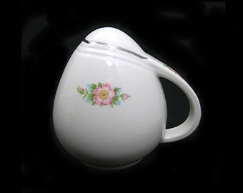 Hall's Rose White PEPPER Shaker, 2 Available, Vintage c1940s White China, Pink Wild Roses, Platinum Trim