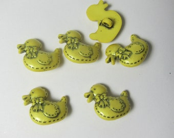 Pearl Yellow Duckie Duck Novelty Buttons