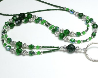 Beaded Lanyard with Green Glass and Silver,  Eyeglass Chain, Badge Holder