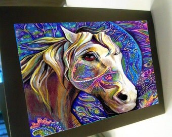 greeting Card carousel horse zentangle design