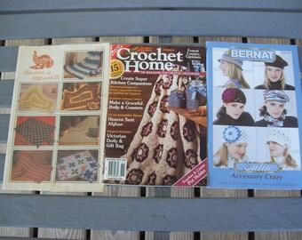 Set of 3,Crochet,Crafts,Supplies,Patterns,Bernat,Hats,Accessories,Afghans,Crochet Home,Harvest of Afghans