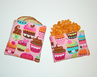 Sweet Cupcakes (Pink) - Eco Friendly Reusable Sandwich and Snack Bag Set
