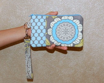 Lacework Gray and Full Moon Polka Dot Slate - Wristlet Purse with Removable Strap and Interior Pocket
