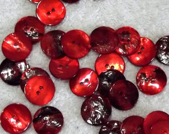 Red Shell buttons, 18mm x 3