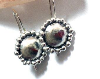 Round Silver Earrings, Small Silver Earrings, Hammered Silver Earrings, Dome Earrings, Dome Dangles, Hammered Silver Drop Earrings, Earrings