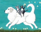 Great Pyrenees and Cats- Cat Folk Art Print 5x7, 8x10, 11x14, 16x20