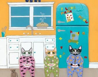 The Cats Pajamas Whimsical Cat Folk Art Print 8x8, 10x10
