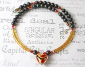 Golden Heart Murano Glass and Pearl Necklace Handmade One of a Kind Artisan jewelry
