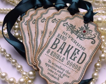 Baked Goods Tags, Vintage Inspired Tags, Green Gift Tags, Cake Labels, Christmas Gift Tags, Homemade by Tags, Wedding Favor Tags - CODE B9