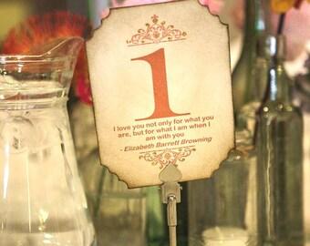 Wedding Table Numbers - Vintage wedding QUOTES, Red Orange Numbers, UK Wedding, Gold Glitter Wedding, Italian Wedding Idea , Rustic Wedding