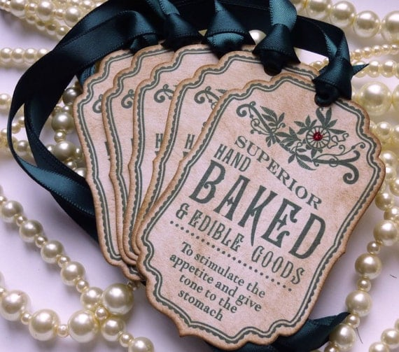 Baked Goods Tags Vintage Inspired Tags Green Gift Tags Cake